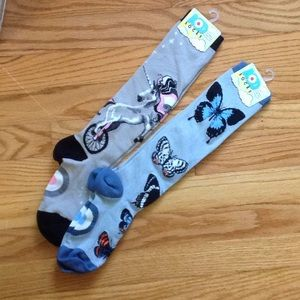 NWT 2 pair knee hi gray unicorn & blue butterfly